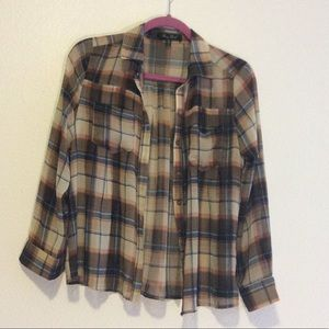 Muted Colors Plaid Button Up